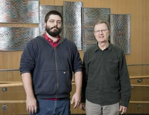 ORNL data scientists (from left) Drew Schmidt and George Ostrouchov have released a 1.0 version of pbdR, the collection of software packages they developed in 2012 to make high-performance computing easier for academic researchers who use R for their data analyses.
